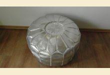 Marocký taburet stříbrný